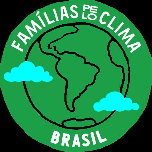 """Logo do Famílias pelo Clima Brasil com um planeta verde e duas nuvens azuis sobrepostas. O texto em cima """"Famílias pelo Clima"""" e abaixo """"Brasil""""."""